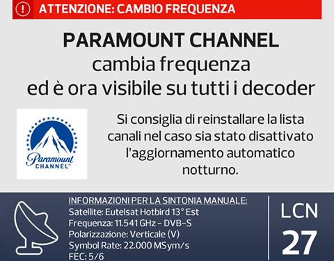 Paramount Channel su TiVu-Sat (aggiornamento)