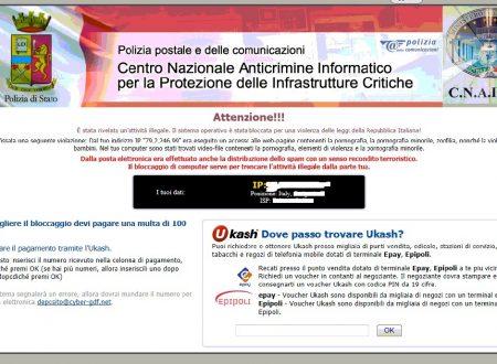 """Truffa """"paga 100 Euro di multa per sbloccare PC"""""""